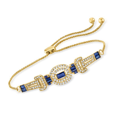 .88 ct. t.w. Sapphire and .57 ct. t.w. Diamond Bolo Bracelet in 18kt Gold Over Sterling