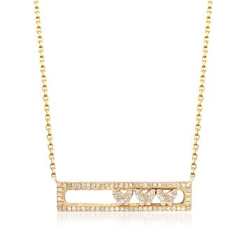 """.29 ct. t.w. Diamond Butterfly Bar Necklace in 14kt Yellow Gold. 18"""", , default"""