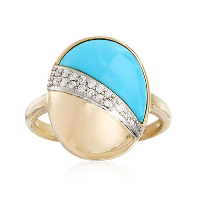 Turquoise and .11 ct. t.w. Diamond Ring in 14kt Yellow Gold, , default