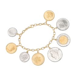 "Italian Genuine Lira Coin Charm Bracelet in 14kt Yellow Gold. 7.5"", , default"