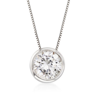 2.00 Carat Bezel-Set Diamond Solitaire Necklace in 14kt White Gold, , default