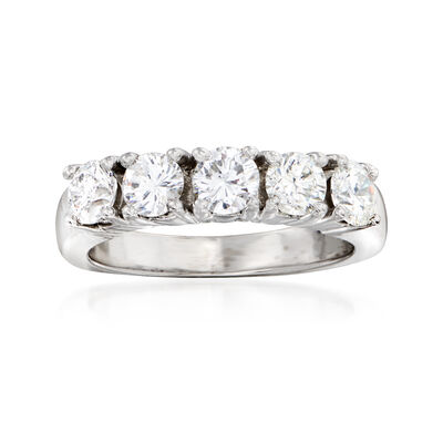 C. 1990 Vintage 1.25 ct. t.w. Diamond Five-Stone Ring in 14kt White Gold