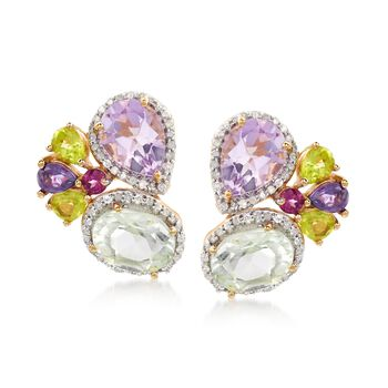 4.90 ct. t.w. Muti-Stone Earrings With .31 ct. t.w. Diamonds in 18kt Yellow Gold Over Sterling Silver. Drop Earrings, , default