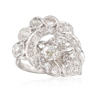 C. 1980 Vintage 1.50 ct. t.w. Diamond Ring in 14kt White Gold, , default