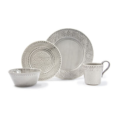 "Bordallo Pinheiro ""Rua Nova"" 16-pc. Service for 4 Anthracite Dinnerware Set, , default"