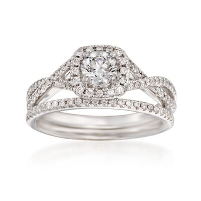 .86 ct. t.w. Diamond Bridal Set: Engagement and Wedding Rings in 14kt White Gold, , default