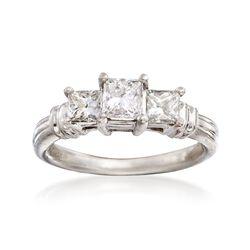 C. 2000 Vintage 1.00 ct. t.w. Princess-Cut Diamond Engagement Ring in Platinum. Size 5.5, , default