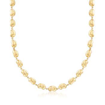 "C. 2000 Vintage Tiffany Jewelry ""Elsa Peretti"" 18kt Yellow Gold Bead Necklace. 16"", , default"