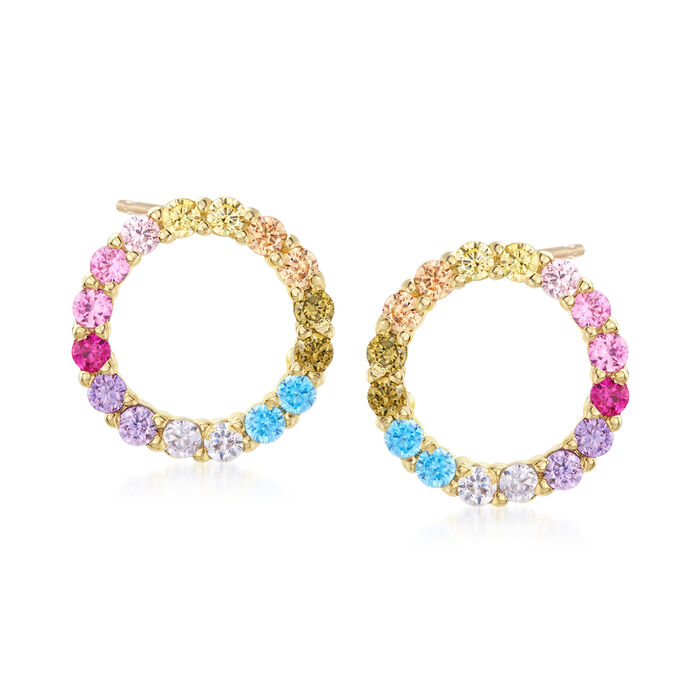 .85 ct. t.w. Multicolored CZ Open-Space Circle Stud Earrings in 18kt Gold Over Sterling