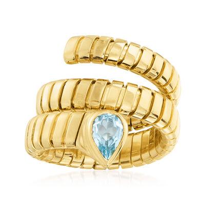 "C. 2000 Vintage Bulgari ""Tubogas"" .75 Carat Swiss Blue Topaz Ring in 18kt Yellow Gold"