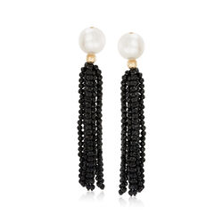Cultured Pearl and 35.00 ct. t.w. Black Spinal Tassel Drop Earrings in 14kt Yellow Gold, , default
