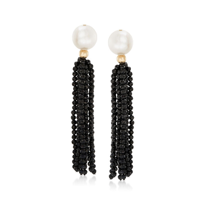 Cultured Pearl and 35.00 ct. t.w. Black Spinel Tassel Drop Earrings in 14kt Yellow Gold, , default
