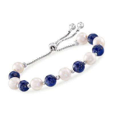 Lapis and 8-9mm Cultured Pearl Bolo Bracelet in Sterling Silver, , default