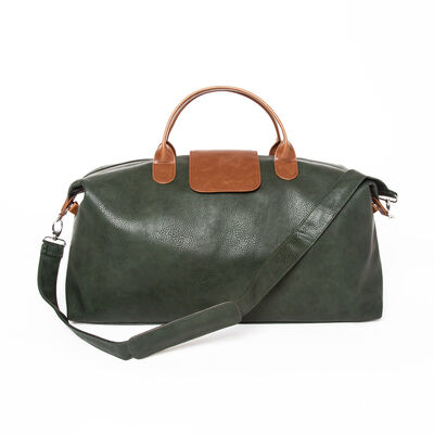 """Brouk & Co. """"Alpha"""" Green and Tan Faux Leather Duffel Bag, , default"""