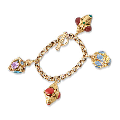 C. 1980 Vintage Multi-Gem Charm Bracelet in 14kt Yellow Gold, , default