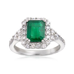 2.10 Carat Emerald and .79 ct. t.w. Diamond Ring in 18kt White Gold, , default
