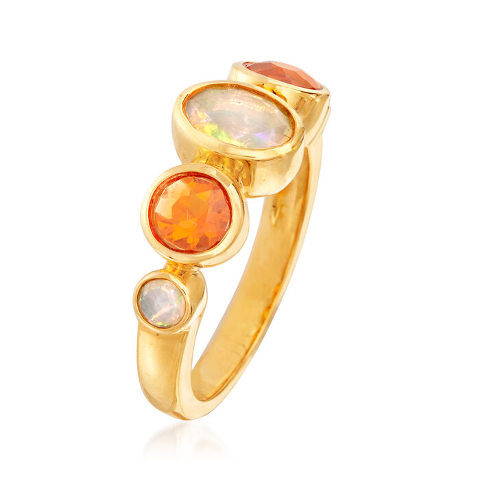 White and Fire Opal Ring in 18kt Gold Over Sterling