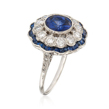 3.08 ct. t.w. Sapphire and .80 ct. t.w. Diamond Cluster Ring in 18kt White Gold. Size 6.5