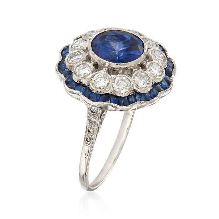 3.08 ct. t.w. Sapphire and .80 ct. t.w. Diamond Cluster Ring in 18kt White Gold