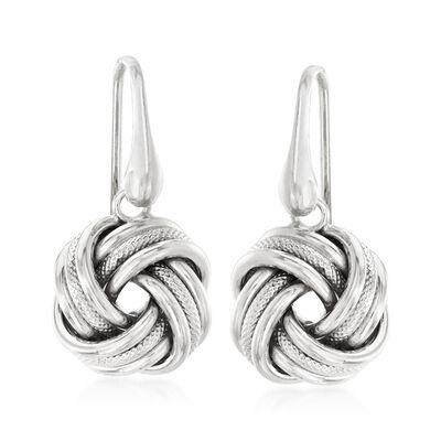 Italian Sterling Silver Love Knot Drop Earrings