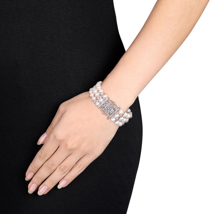7-8mm Cultured Pearl and .85 ct. t.w. CZ Multi-Row Bracelet with Sterling Silver