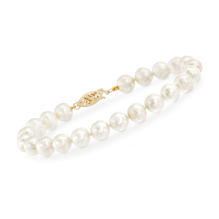 7-7.5mm Cultured Pearl Bracelet with 14kt Yellow Gold Clasp