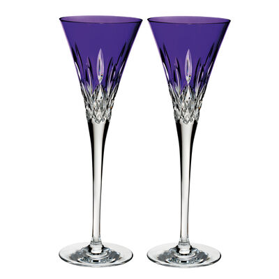 "Waterford Crystal ""Pops"" Set of 2 Lismore Purple Flute Glasses"
