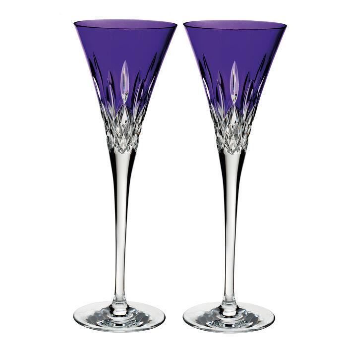 "Waterford Crystal ""Pops"" Set of 2 Lismore Purple Flute Glasses , , default"