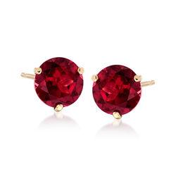 3.30 ct. t.w. Rhodolite Garnet Stud Earrings in 14kt Yellow Gold , , default