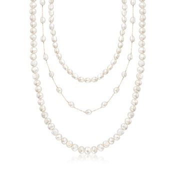 """7-10mm Cultured Semi-Baroque Pearl Jewelry Set: Three Endless Necklaces With 14kt Yellow Gold. 24-36"""", , default"""