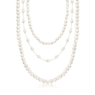 7-10mm Cultured Semi-Baroque Pearl Jewelry Set: Three Endless Necklaces with 14kt Yellow Gold, , default