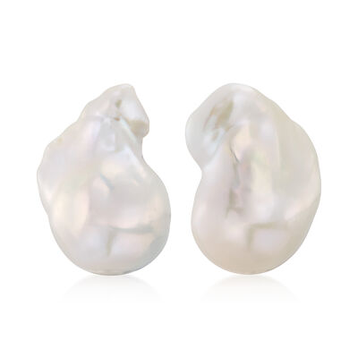22x18mm Cultured Baroque Pearl Earrings in 14kt Yellow Gold