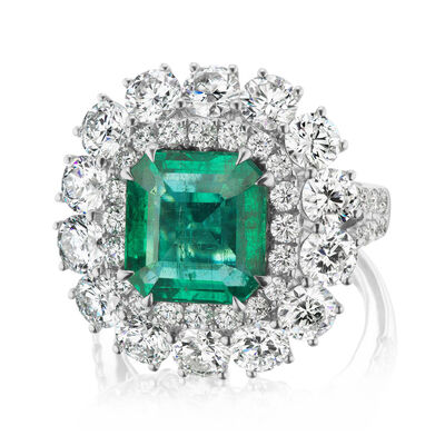 4.75 Carat Emerald and 4.86 ct. t.w. Diamond Ring in 18kt White Gold