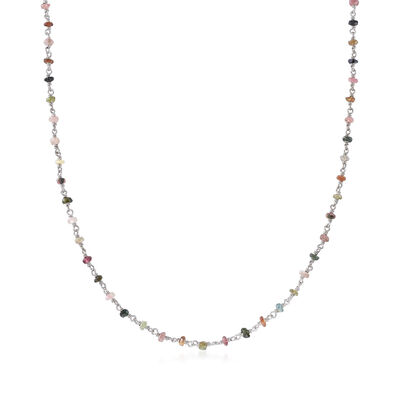 14.00 ct. t.w. Multicolored Tourmaline Bead Station Necklace in Sterling Silver, , default