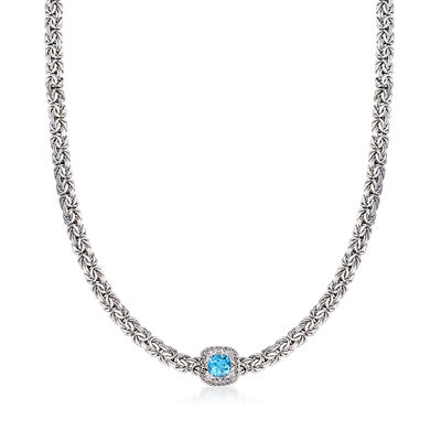 1.40 Carat Swiss Blue Topaz Byzantine Necklace in Sterling Silver