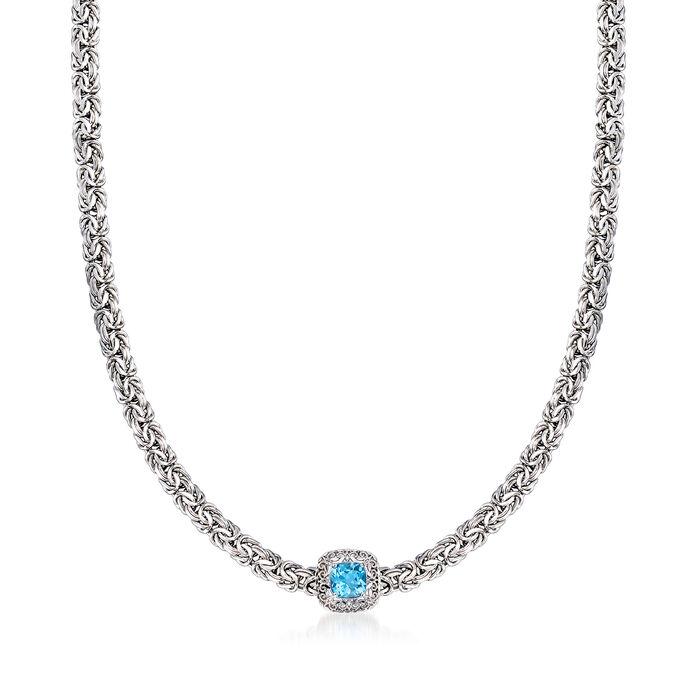 1.40 Carat Swiss Blue Topaz Byzantine Necklace in Sterling Silver