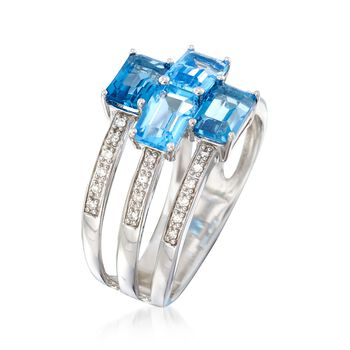 2.50 ct. t.w. Blue Topaz and .10 ct. t.w. Diamond Three-Row Ring in Sterling Silver, , default