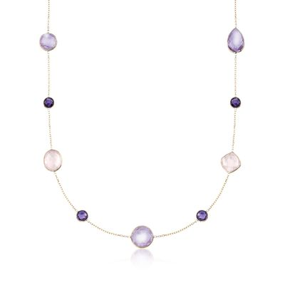 Rose Quartz and 15.20 ct. t.w. Amethyst Station Necklace in 14kt Yellow Gold