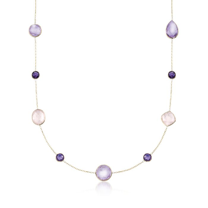 Rose Quartz and 15.20 ct. t.w. Amethyst Station Necklace in 14kt Yellow Gold, , default