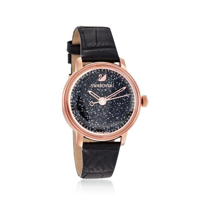 "Swarovski Crystal ""Crystalline"" Women's 38mm Black Crystal Watch in Rose Gold Plate , , default"