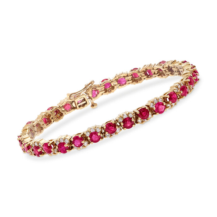 "C. 1990 Vintage 8.00 ct. t.w. Ruby and 1.75 ct. t.w. Diamond Tennis Bracelet in 14kt Yellow Gold. 7"", , default"