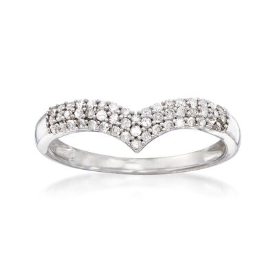 .25 ct. t.w. Diamond Chevron Ring in Sterling Silver