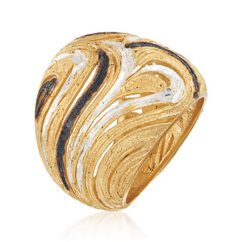Italian Diamond-Cut Swirl Ring in Sterling Silver and 18kt Yellow Gold Over Sterling