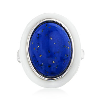 Lapis and White Agate Ring in Sterling Silver