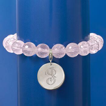 Rose Quartz Bead Bracelet with Sterling Silver Personalized Removable Disc, , default