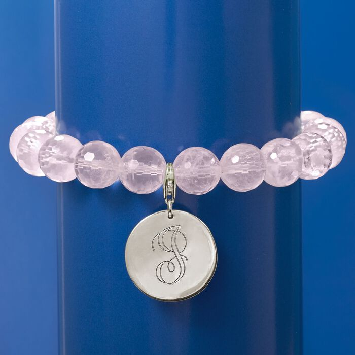 Rose Quartz Bead Bracelet with Sterling Silver Personalized Removable Disc