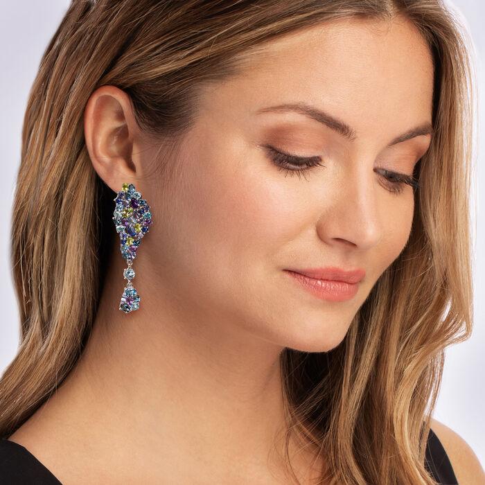 12.20 ct. t.w. Multi-Gemstone Drop Earrings in Sterling Silver