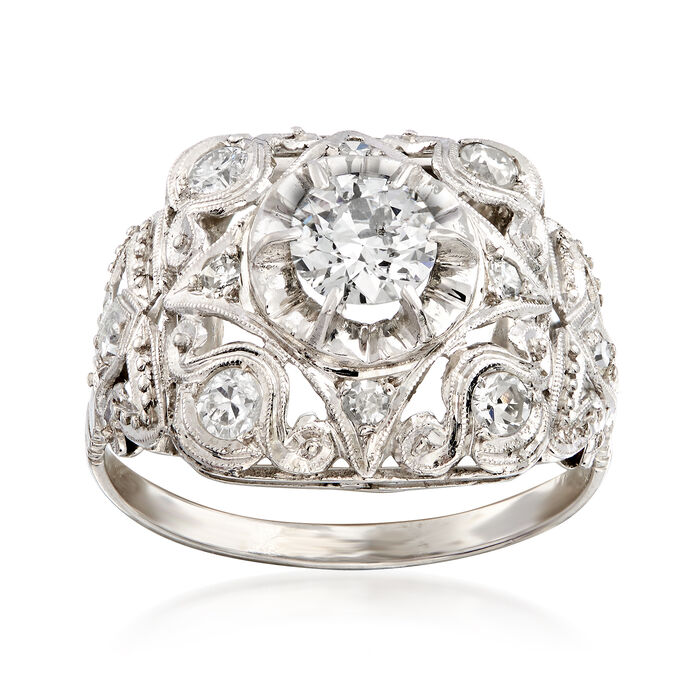 C. 1960 Vintage .90 ct. t.w. Diamond Milgrain Ring in Platinum. Size 7, , default
