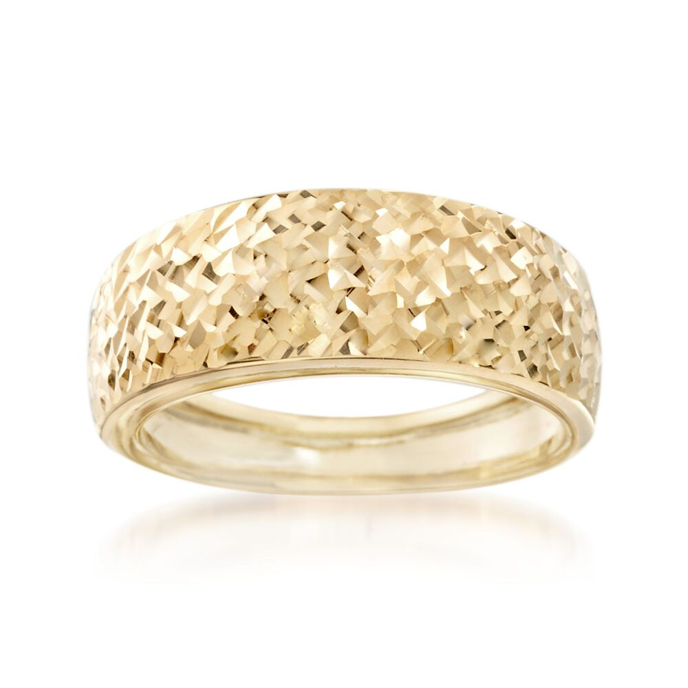 Italian 14kt Yellow Gold Diamond Cut Ring Ross Simons