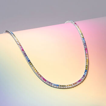20.00 ct. t.w. Rainbow CZ Tennis Necklace in Sterling Silver, , default